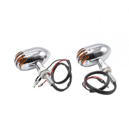 Semnalizatoare moto LED tip BM1601 Radiator Design, culoare crom
