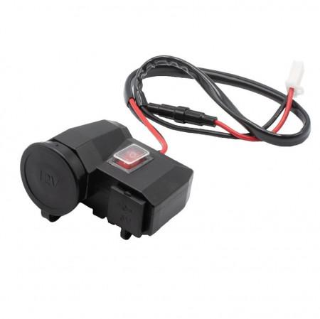 Alimentator moto 12V-5V cu priza bricheta, 2 prize USB si buton on-off