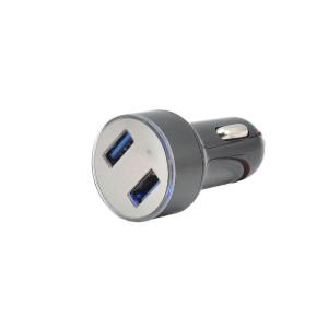 Incarcator cu 2 mufe USB si voltmetru, cu adaptor pentru priza bricheta moto/auto