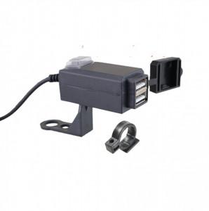 Alimentator moto cu 2 prize USB si buton on/off