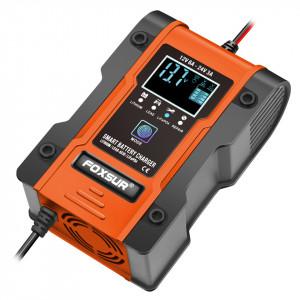 Redresor smart baterie auto/moto/camion cu afisaj digital 12V,6A/24V,3A FOXSUR