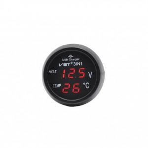 3 in 1 mini alimentator moto/auto 5V cu priza USB, voltmetru si termometru