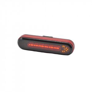 Lampa stop bicicleta, reincarcabila USB, cu semnalizatoare LED si telecomanda wireless, tip BK600