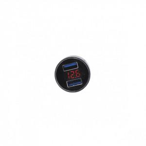 Mini adaptor priza bricheta cu 2 mufe USB si voltmetru pt. moto/auto