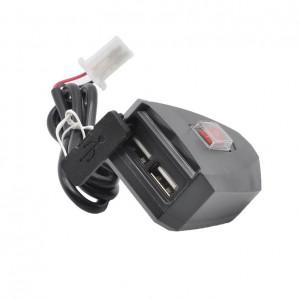 Alimentator moto 5V cu 2 prize USB si buton on/off