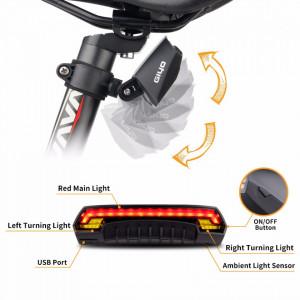 Lampa stop bicicleta reincarcabila USB, cu semnalizatoare LED, lasere laterale si telecomanda wireless, tip R1