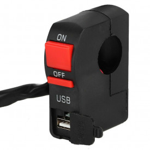 Intrerupator cu buton on-off moto tip Kill Switch cu priza USB
