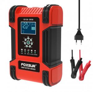 Redresor FOXSUR smart baterii auto/moto/camion cu afisaj digital 12V/12A, 24V/6A