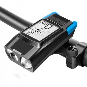 3 in 1 computer bicicleta wireless cu far LED si claxon incorporate, tip A