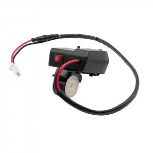 Alimentator 12V-5V pt. moto-scuter-ATV cu priza bricheta, 2 prize USB, voltmetru si buton on-off