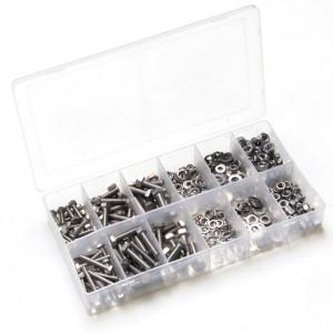 Set 475 piese: suruburi cu cap hexagonal din otel inox, M4, M5, M6, cu piulite, saibe si saibe grover
