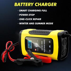 Redresor FOXSUR smart pentru baterii auto/moto, 12V 5A, cu afisaj electronic si functie Repair