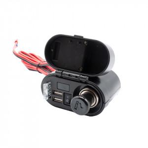 Alimentator moto 12V-5V cu priza bricheta, 2 prize USB, voltmetru, ceas si buton on-off