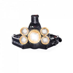 Lampa frontala HL31, 5 LED-uri, reincarcabila USB, 5000 Lumeni, ZOOM