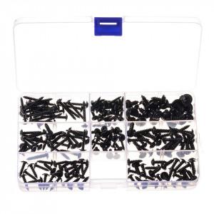 Suruburi negre autofiletante, M2/M2,5/M3, 8 dimensiuni, set 200 bucati