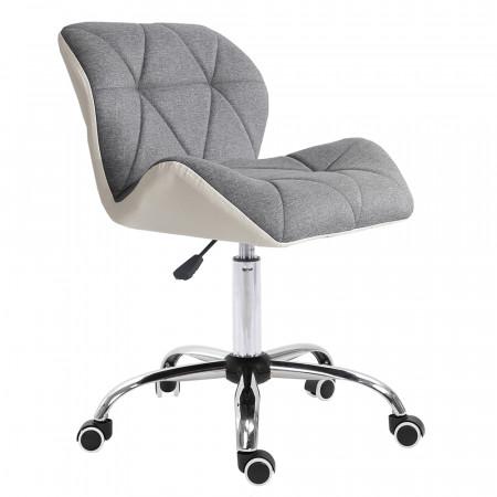 BADAR - Irodai szék, fehér/szürke/króm