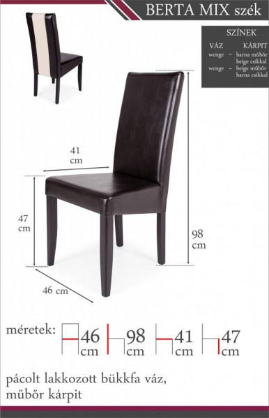 Berta mix szék méretei