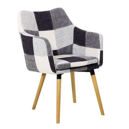 LANDOR Fotel, fehér/fekete minta patchwork/bükk