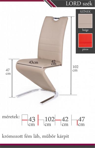 Lord szék méretek színek