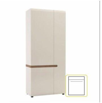 LYNATET 20 szekrény extra magas fényű fehér - trufla sonoma tölgy színben