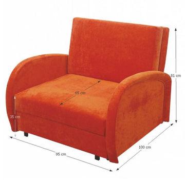MILI 2 fotel ágyfunkcióval és ágyneműtartóval - narancssárga színben