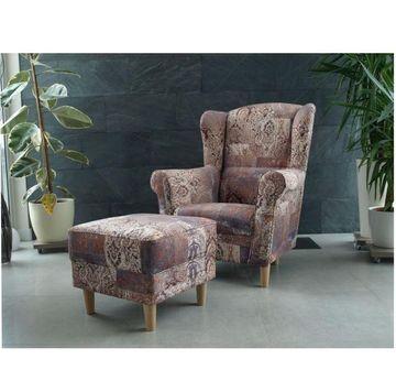 ASTRID fotel és puff vintage 1026-os barna szövettel
