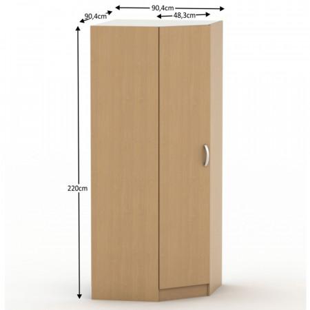 BETTY 2 BE02-016-00 - Egy ajtós sarokszekrény, akasztórúd + polcok, bükk