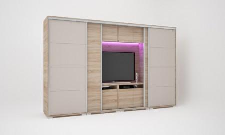 Bond tv-s gardrób 318cm 2 Bútorlapos - 2 Magasfényű ajtóval