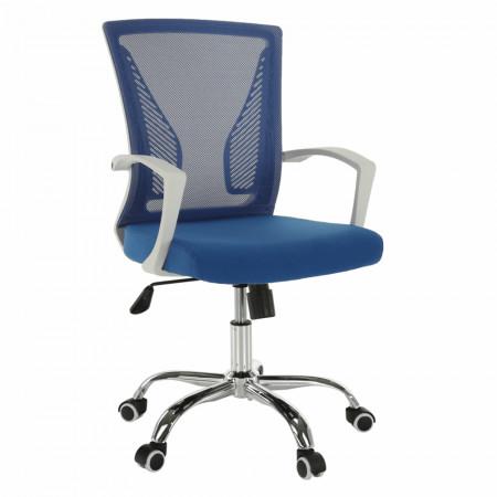 IZOLDA - Irodai szék, kék/fehér/króm