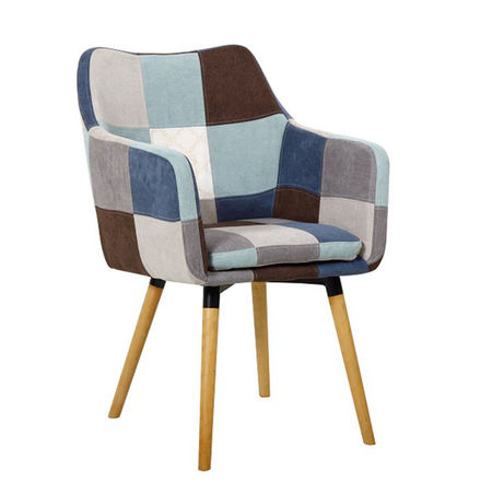 LANDOR Fotel, kék/bézs minta patchwork/bükk