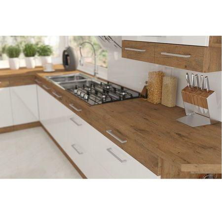 Magas szekrény beépített sütőnek, lancelot tölgy/ fehér extra magas fényű HG, VEGA 60 DP-210 2F