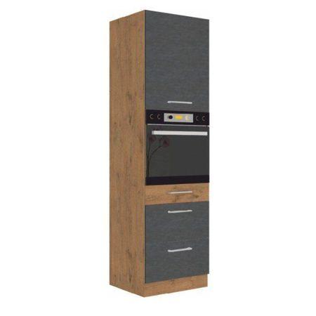 Magas szekrény, tölgy lancelot/szürke matt, VEGA 60 DPS-210 3S 1F