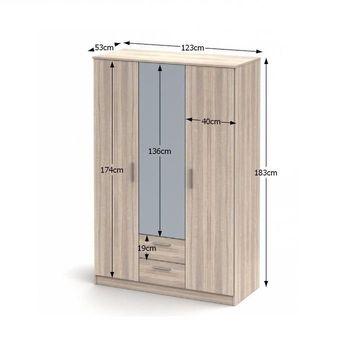 NOKO-SINGA 82 3 ajtós szekrény tükörrel sonoma tölgy színben