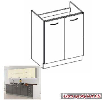 PRADO 80 ZL 2F BB alsó mosogató szekrény szürke - fehér színben
