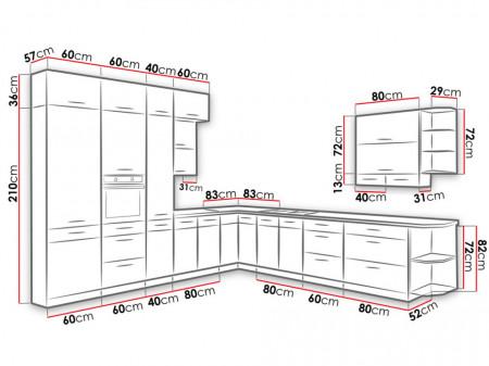 VLB1 konyhabútor összeállítás Méretek