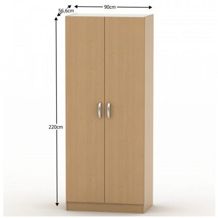 BETTY 2 BE02-003-00 - 2 ajtós szekrény akasztórúd + polcok, bükk