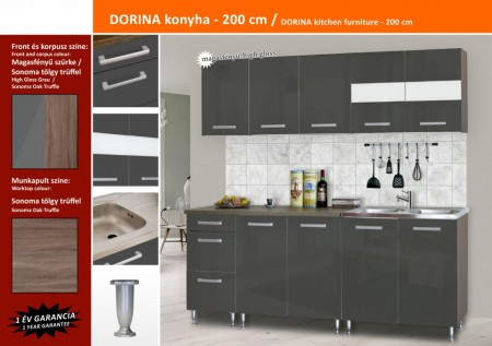 Dorina konyhablokk MDF fronttal, Magasfényű szürke, 200cm