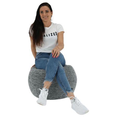 Hanord - Babzsák fotel, fekete / fehér