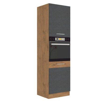 Magas szekrény, tölgy lancelot/szürke matt, VEGA 60 DP-210 2F