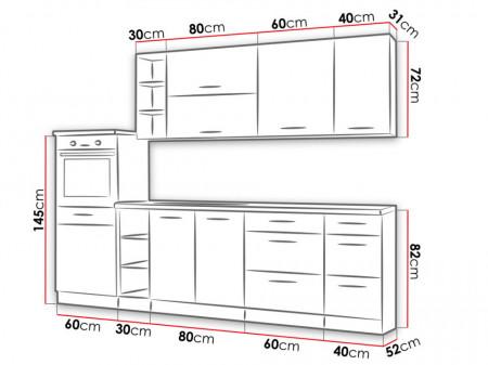 VLB4 konyhabútor összeállítás 270 cm méretek