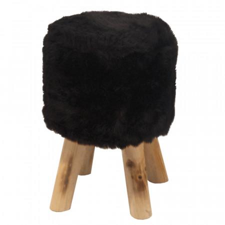ALPIA - Puff, fekete szőrme/tűnyalábos fenyő