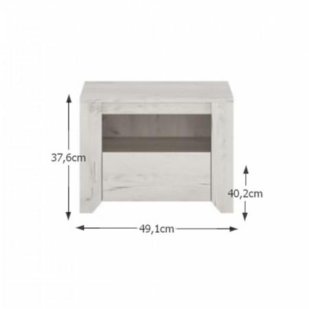 ANGEL - Hálószoba garnitúra, (szekrény, ágy 160x200, 2x éjjeliszekrény), fehér craft