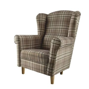 CHARLOT fotel cáro barna színmintával