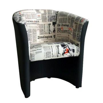 CUBA fotel fekete textilbőrrel és újságmintás szövettel