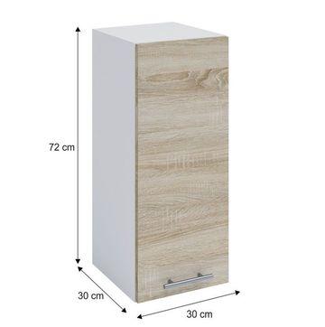 FABIANA W - 30 felső szekrény sonoma tölgy - fehér színben