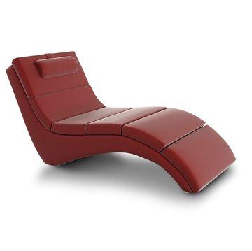 LONG pihenő fotel piros textilbőrrel