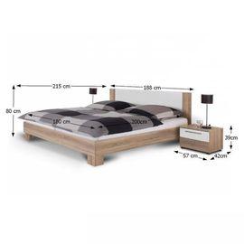 Martina ágykeret + 2 éjjeliszekrény - sonoma tölgy - fehér