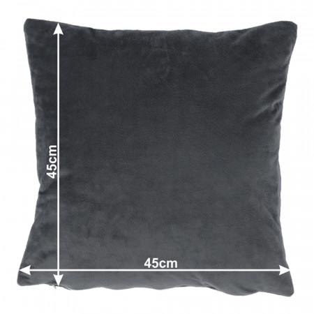 ALITA TYP 8 - Párna, bársony anyag sötétszürke, 45x45