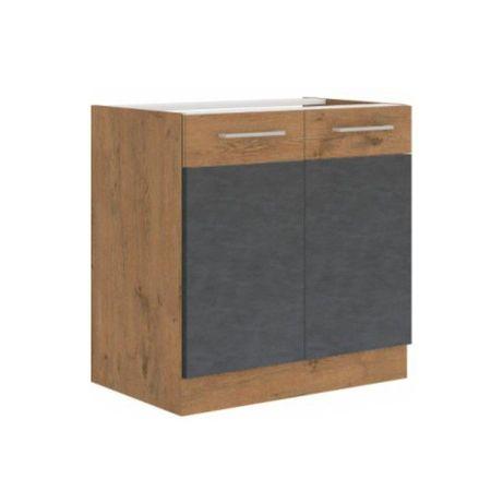 Alsószekrény, szürke matt/tölgy lancelot, VEGA 80 D 2F BB