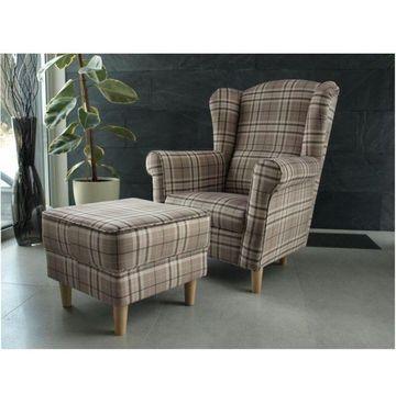 ASTRID fotel és puff kocka mintás szövettel - világosbarna színben